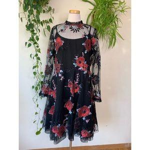 NWT ELOQUII Sheer Mesh Floral Sequin Ruffle Dress